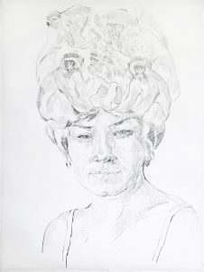 Woman with apes, Pencil, 80 x 60 cm, 2020
