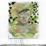 Portrait of Karen, Oil and spray paint on canvas, 160 x 130 cm, 2020