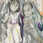 Two girls, Oil and ink on canvas, 60 x 50 cm, 2020