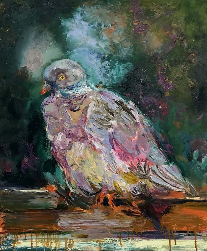 Young pigeon in urban area, Oil on Canvas, 120 x 100 cm, 2021