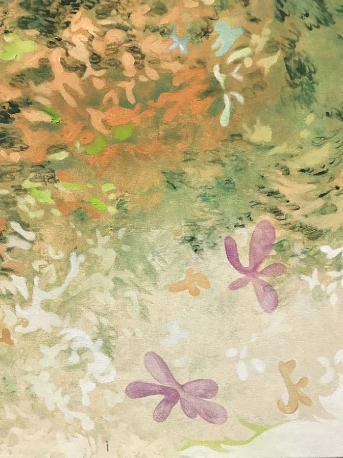 Landscape with floating creature, Oil on canvas, 150 x 120 cm, 2021, detail