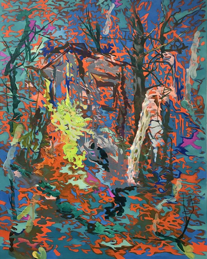 Blue forest with tiny house, Oil on canvas, 150 x 120 cm, 2021