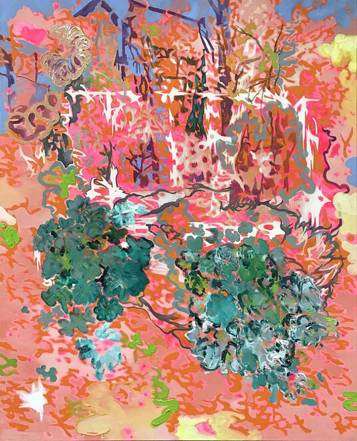 Treehouse with plant cascade, Oil on canvas, 150 x 120 cm, 2021