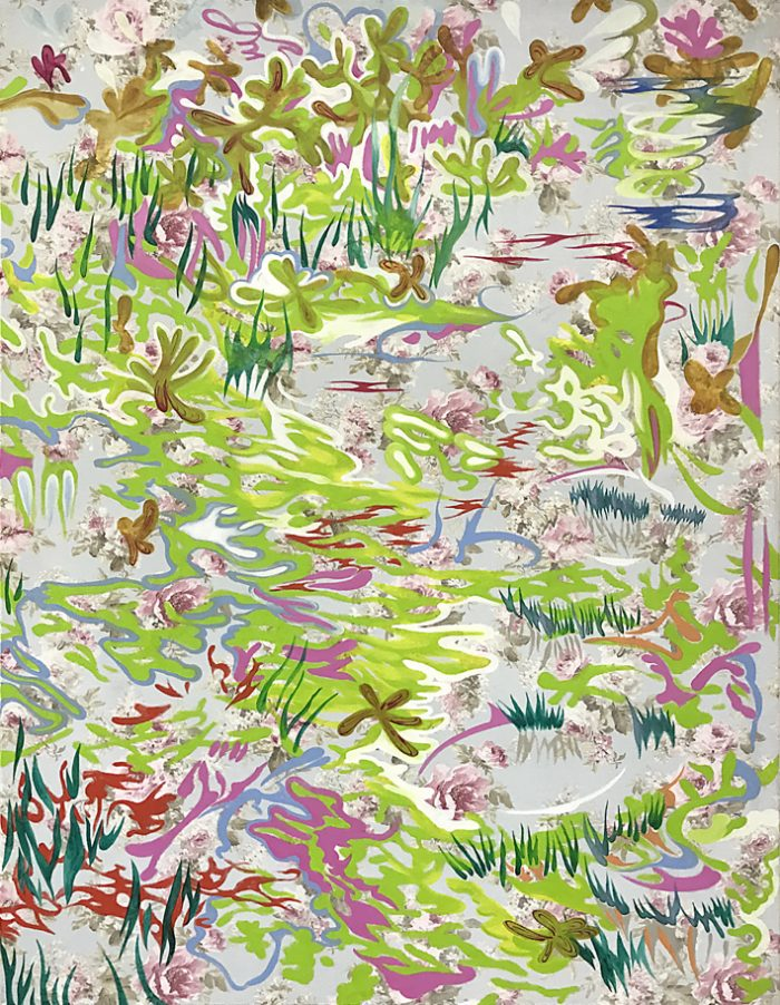 Waterlillies, Oil on print, 170 x 140 cm, 2021