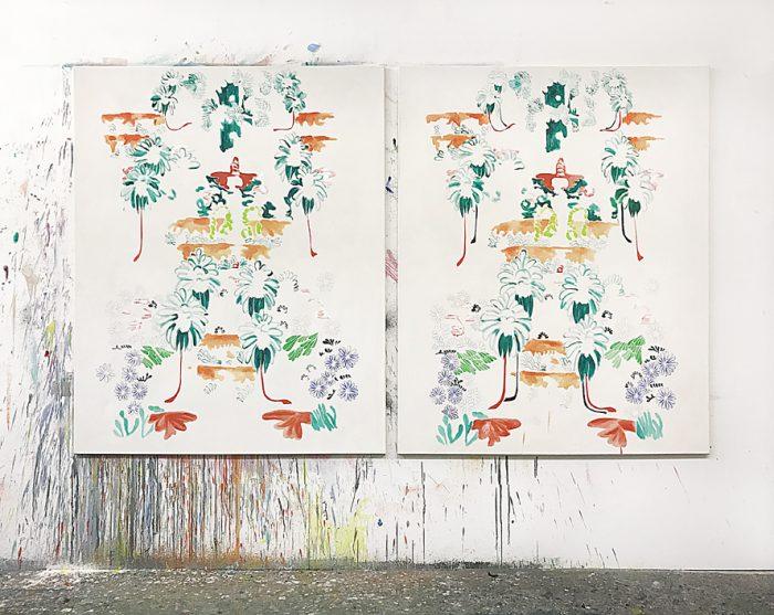 Vertical Fields, Oil, Watercolour, Crayon on canvas, 150 x 240 cm, 2021